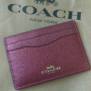 Coach Metallic cross-grain leather card holder
